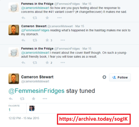 Cameron Stewart (of Batgirl creative team) exchange with Twitter user active under #CHANGETHECOVER hashtag.